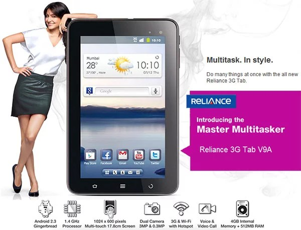 Reliance launches Android 3G Tab V9A with added free benefits worth Rs 6250