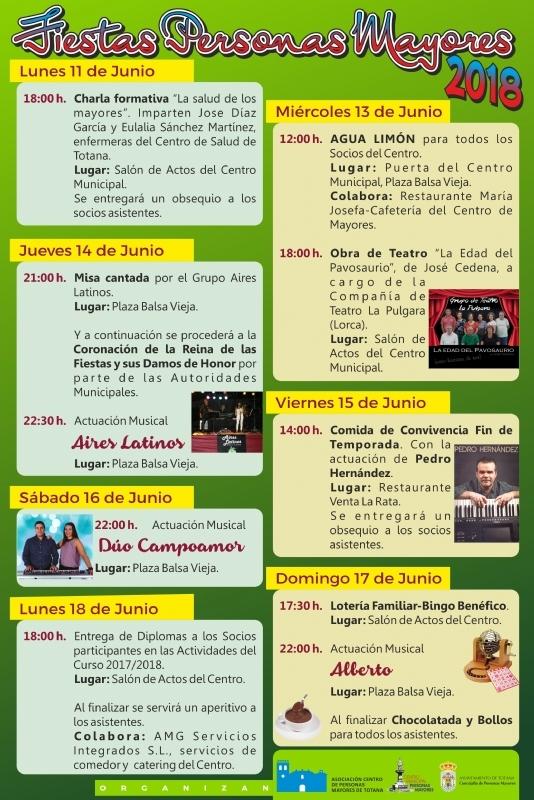 Las fiestas del Centro de Personas Mayores de Totana se celebran del 11 al 18 de junio, con un amplio y variado abanico de actividades