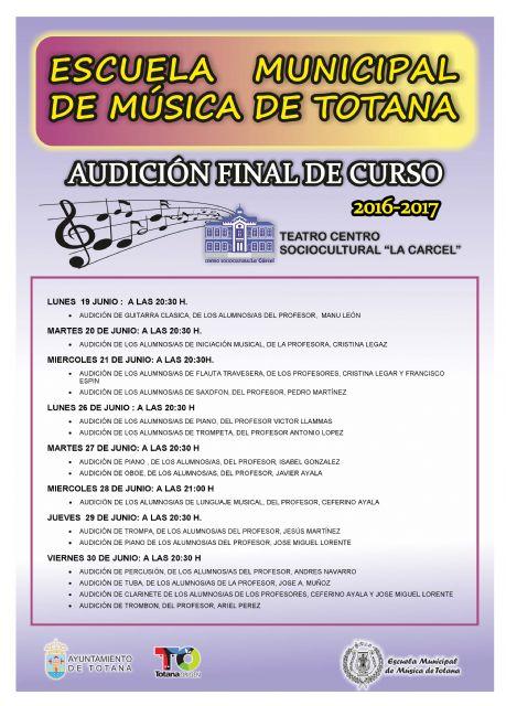Quince audiciones de distintas disciplinas musicales tendrán lugar del 19 al 30 de junio con motivo de la clausura del curso 2016/2017 de la Escuela de Música de Totana