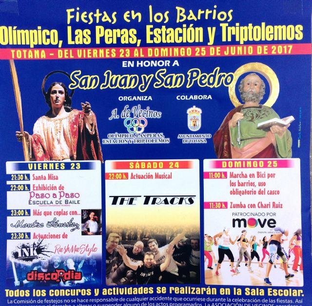 Las fiestas del barrio Olímpico, Las Peras, Estación y Triptolemos se celebrarán del 23 al 25 de junio en honor a San Juan y San Pedro