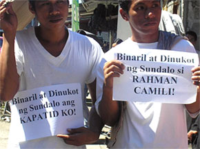 Relatives of Camili picket Camp Panacan (contributed photo)