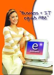 An advertisement for ABE featuring popular actress Heart Evangelista