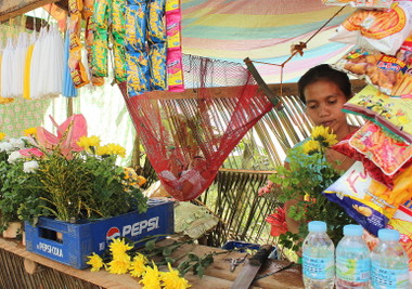 MULTI-TASKING.  A mother does babysitting and selling items at the same time at Tibungco Public Cemetery.  (davaotoday.com photo by Medel V. Hernani)