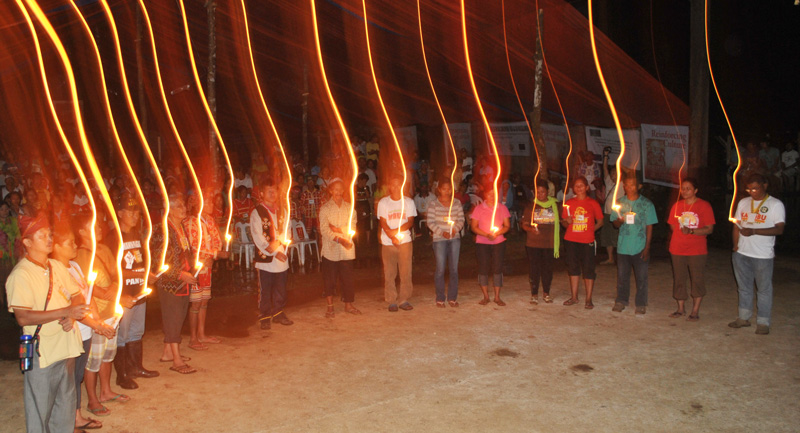 Mindanao Lumads pay tribute to their heroes and martyrs during the solidarity night of the second Kalumaran assembly, April 20 in Lianga, Surigao del Sur.  (contributed photo)