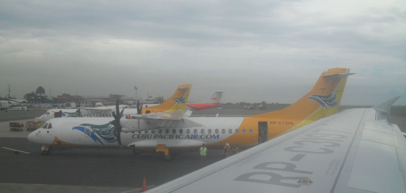 A Cebu Pacific aircraft.  (davaotoday.com file photo by Marilou Aguirre-Tuburan)