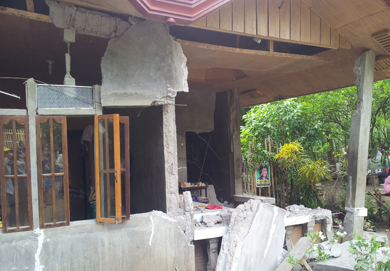 One of the houses in Carmen, North Cotabato damaged by the 5.7 magnitude earthquake Saturday.  (Photo courtesy of the Office of Gov. Emmylou Taliño-Mendoza)