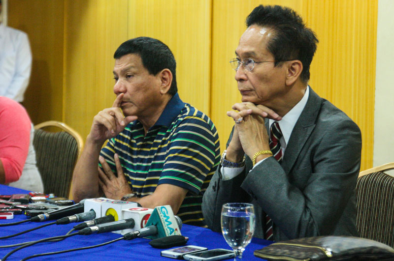 Davao City Mayor Rody Duterte tells reporters that Thursday's police operation that killed three suspected kidnappers was a legitimate, proper and even moral action.  Beside him is Manila-based lawyer Salvador Panelo, counsel for the Davao City Police (davaotoday.com photo by Ace Morandante)