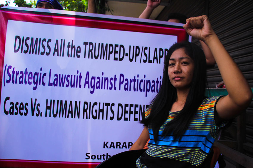 Alleged New People's Army guerrilla Vanessa Delos Reyes hopes that all the charges levelled against her by the government military would be dismissed for humanitarian reasons due to her disability. She is photographed during the first hearing of her arraignment at the Hall of Justice in Davao City. (Ace R. Morandante/davaotoday.com