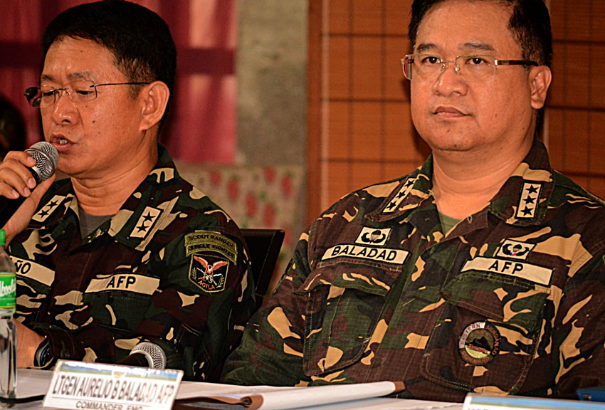 Major General Eduardo Año, commander of the 10th Infantry Division, confirms the wounding of a soldier and one CAFGU in a recent NPA attack in Mabini Compostela Valley, Monday morning.  (Sarah Grace Andaya/davaotoday.com)