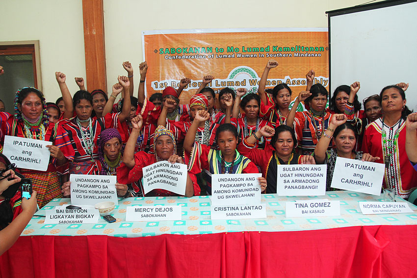 More than 100 tribal women from various tribes in Mindanao gather for their first assembly of Sabokan To Mo Lumad Kamalitanan Confederation of Lumad Women. They call for a stop to militarization in their ancestral domain. (Ace R. Morandante/davaotoday.com)