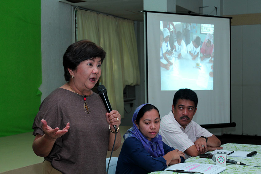 Gabriela Rep. Luz Ilagan shares her experience during the four days fact-finding mission in Mamasapano town, Maguindnao. She reports of kids traumatized by the encounter, and their parents afraid of going to their farms. (Ace R. Morandante/davaotoday.com)