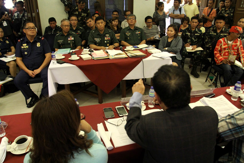 Officials of the Armed Forces' Eastern Mindanao Command are grilled by the members of the House committee on human rights on alleged abuses perpetrated by their units in the indigenous communities of Southern Mindanao Region during the second day of the committee's public hearing held in Davao City. (Ace R. Morandante/davaotoday.com)