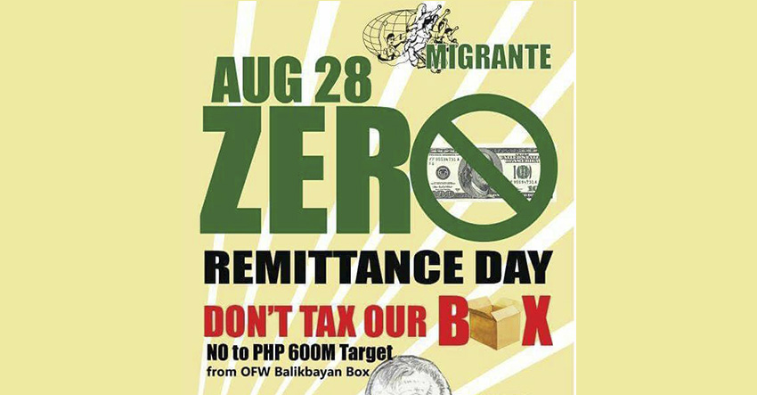 OFWs from Davao to join zero remittance day on August 28