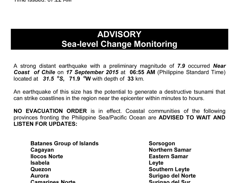 Davao disaster DRRMC on tsunami alert: No need to worry, but…