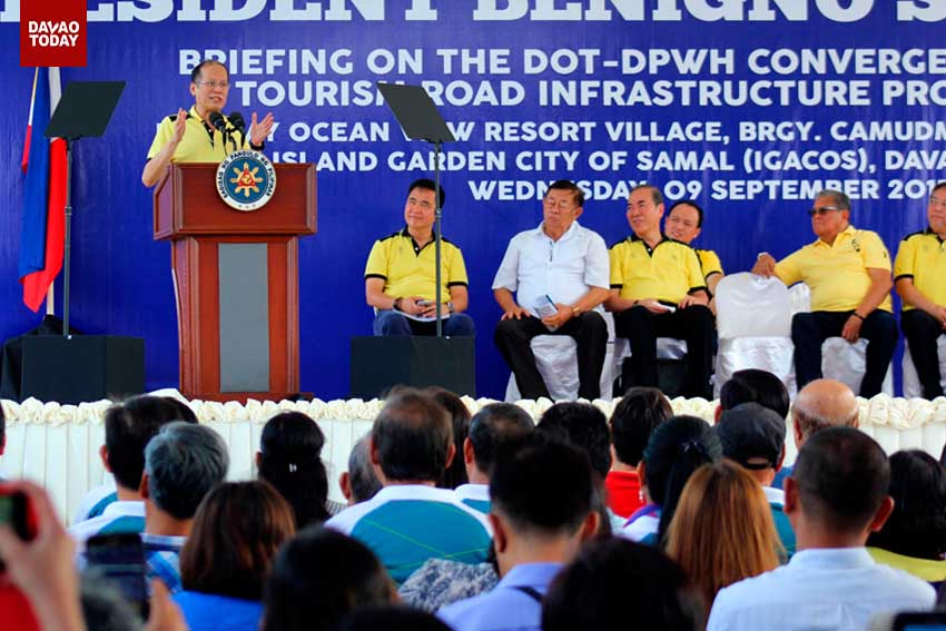 President Benigno Aquino III during his speech at the Department of Tourism and Department of Public Works and Highways convergence program for the Island Garden City of Samal circumferential road  which will be completed in January 2016. The program was held at the Holiday Ocean View in Barangay Camudmud, Igacos. (Ace R. Morandante/davaotoday.com)