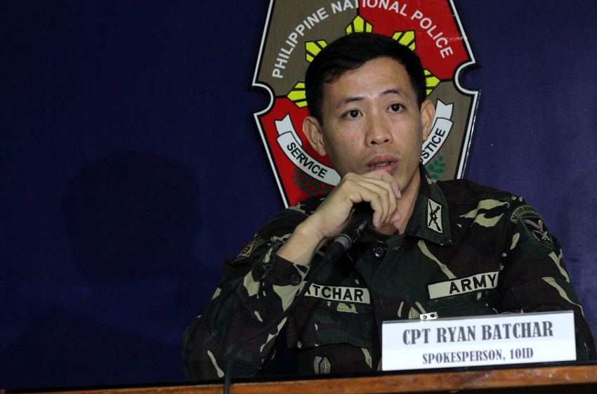 Captain Rhyan Batchar, spokesperson of the 10th Infantry Division belied the allegations of Karapatan Southern Mindanao region that it was indiscriminate firing that killed Ronel Paas, 35 years old alias Dondon and wounded 14 years old alias Dong, in Sitio Post-4, Barangay Napnapan, Pantukan, Compostela Valley province on February 9. He said the firing were meant to attack members of the New People's Army. (Ace R. Morandante/davaotoday.com)