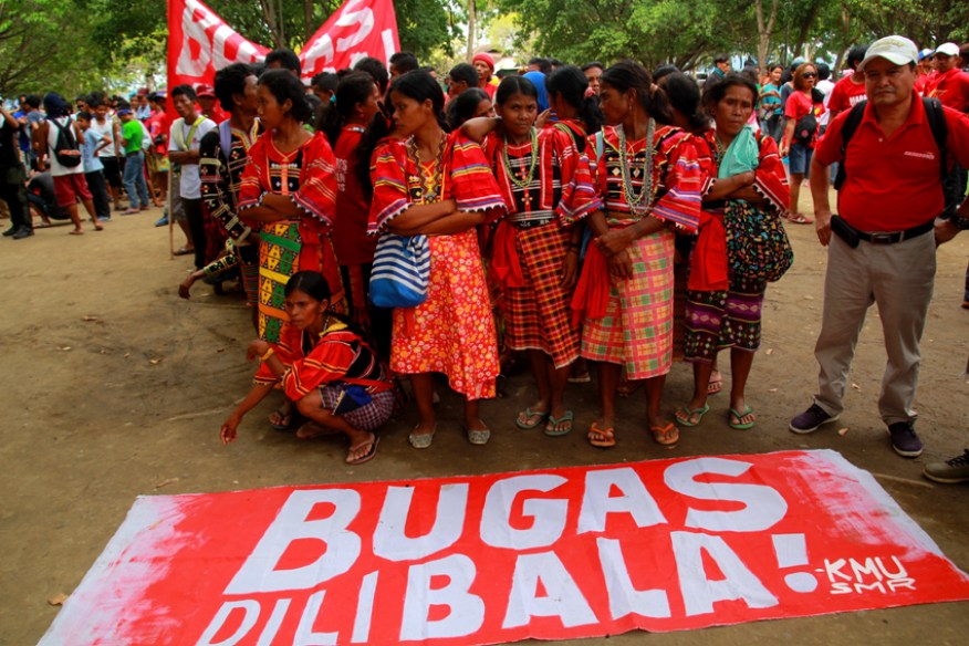 Lumad farmers from Compostela Valley Province join the protest to support the workers' struggle.