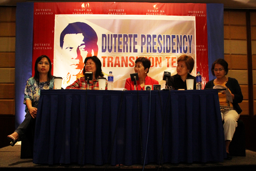 Members of ForwaRD w omen push on empowerment of women accompanying their economic empowerment and strengthening involvement in income generating activities. From left to right Dr. Jean Lindo, Bing Solamo, former Gabriela Women's Party Rep. Luzviminda Ilagan and Lourdesita Chan, chair of University Research Council, Ateneo de Davao University. (Ace R. Morandante/davaotoday.com)