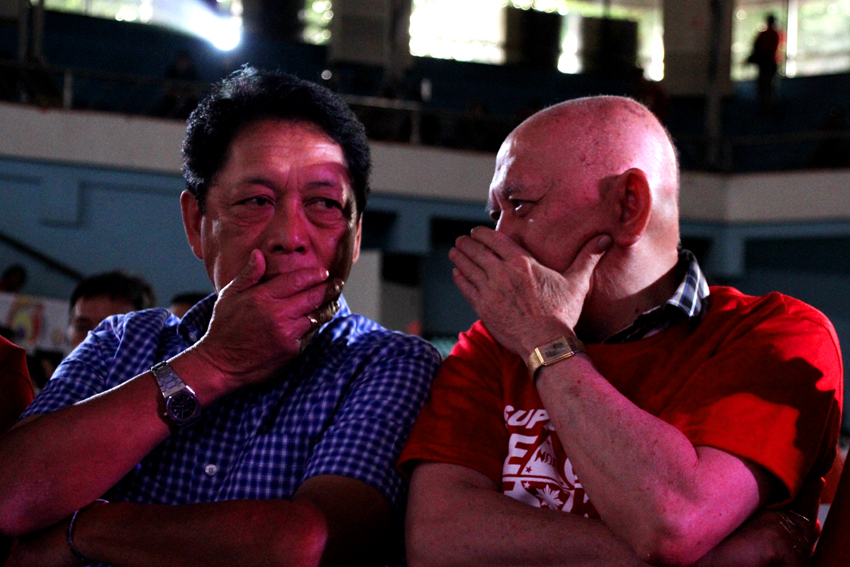 Government panel chief negotiator and incoming Labor Secretary Silvestre Bello III converses with Fidel Agcaoili, one of the members of the National Democratic Front negotiating panel during the peace forum at the Davao City Recreation Center, on June 29, 2016. Both panels will resume the formal peace talks this coming July in Oslo, Norway. (Ace R. Morandante/davaotoday.com)