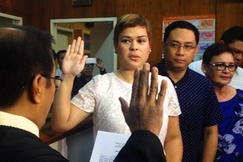 City Mayor Sara Duterte-Carpio during her oath taking. (davaotoday.com file photo)