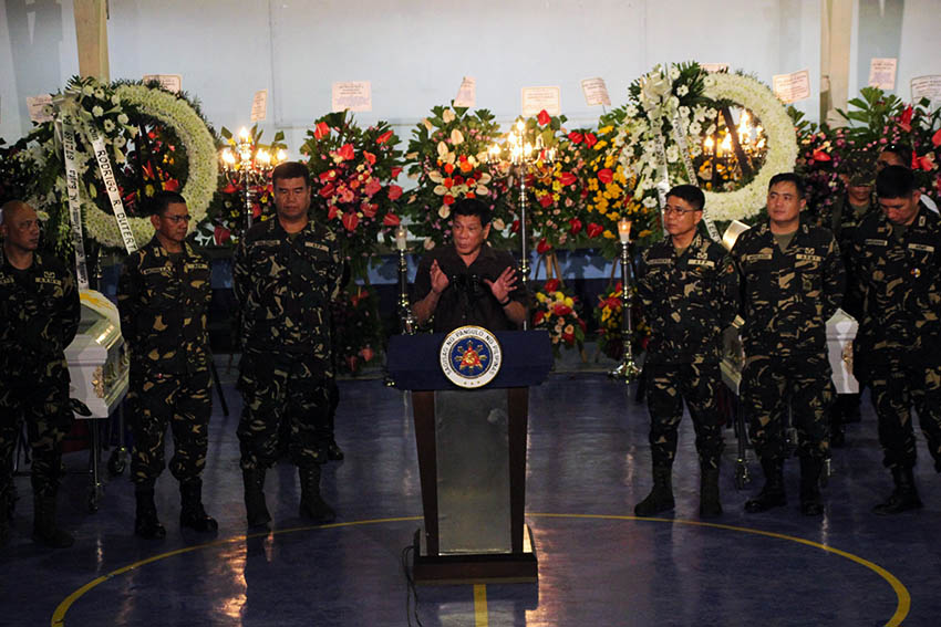 PHOTOS | Duterte visits wake of soldiers killed in NPA offensives
