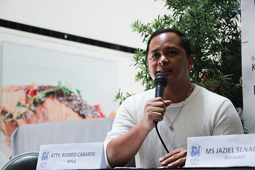 "Atty. Romeo Cabarde of the Ateneo Public Interest and Legal Advocacy (APILA) expresses his strong opposition to House Speaker Pantaleon Alvarez' proposal to amend the minimum age of criminal liability from 15 to nine years old, saying that children are merely""victims of a failed system"".  (Paulo C. Rizal/davaotoday.com)"