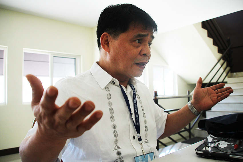 "CHURCH LEADER National Council of Churches in the Philippines general secretary Father Rex Reyes says that peace is not just the absence of war, but also a ""situation of justice"". (Paulo C. Rizal/davaotoday.com)"