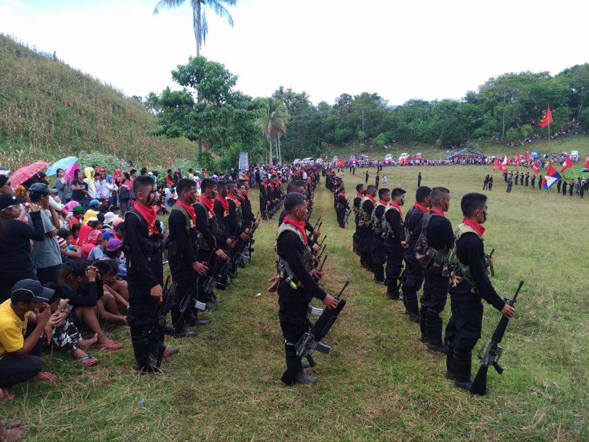 Six platoons of the 1st Pulang Bagani Company performs a tactical inspection during the 48th anniversary celebration of the Communist Party of the Philippines in Barangay Lumiad, Paquibato district in Davao City on Monday morning, Dec. 26, 2016. (Zea Io Ming C. Capistrano/davaotoday.com)