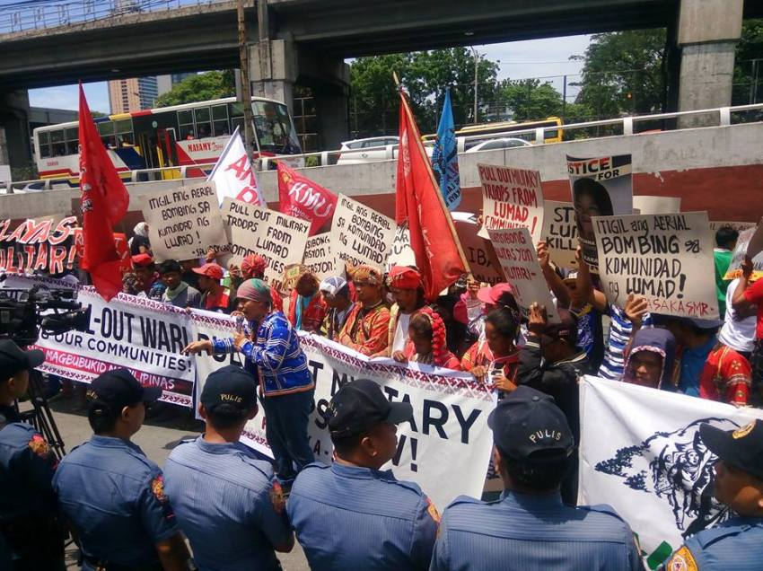 Militant Lumad group storms DND to protest unabated killings