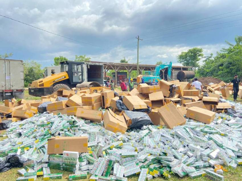 Customs Normin destroys P50M worth of misdeclared cigarettes from China anew