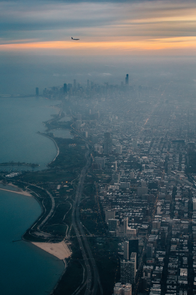 Flying Over Foggy Chicago