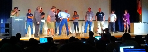 Only at LessConf can you get an onstage wedgie