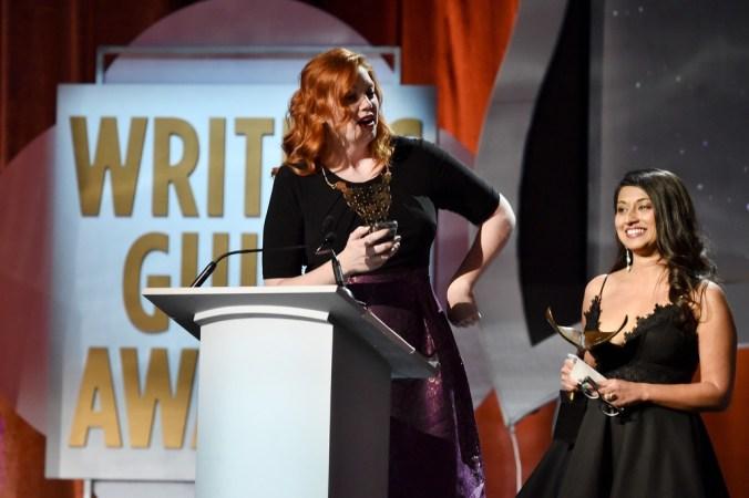 Gretchen Enders and Aminta Goyel accept WGA Award 2016