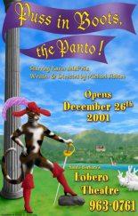 """Puss in Boots, the Panto"" poster design - Santa Barbara Panto"