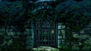 Locked Secret Garden Gate Scenery