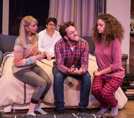 "Stephanie Burden (Melody), Cory Kahane (Jonah), Adam Silver (Liam) and Eden Malyn (Daphna) - Ensemble Theatre Co. ""Bad Jews"" 4/13/16 Alhecama Theatre"