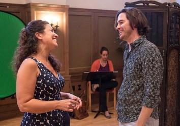 "Stage Director Fenlon Lamb and Jason Slayden (Rinuccio) in Opera Santa Barbara's ""Gianni Schicchi"" staging rehearsal 3/31/16 Weinman Hall, MAW"