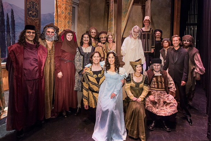 """Maestro Breid and the whole cast of Opera Santa Barbara's """"Gianni Schicchi"""" after the final performance."""