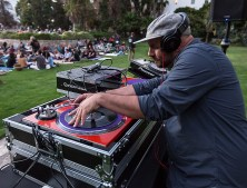 "KCRW DJ Anthony Valadez spining tunes before the showing of ""The Maltese Falcon"" 7/7/16 Santa Barbara Courthouse Sunken Gardens"