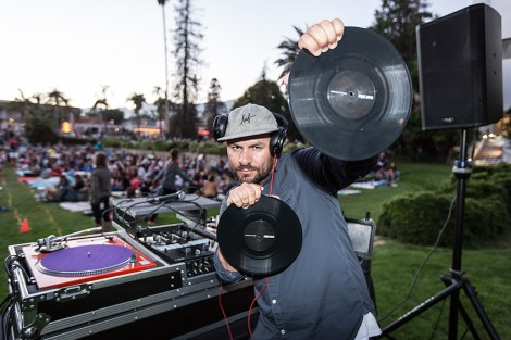 "KCRW DJ Anthony Valadez before the showing of ""The Maltese Falcon"" 7/7/16 Santa Barbara Courthouse Sunken Gardens"