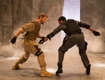 "Macbeth (Jamison Jones) and Macduff (Ak Murtadha) fight to the death - Ensemble Theatre Co. ""Macbeth"" 9/28/16 New Vic Theatre"