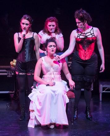 Katie Moya (Lizzie Borden), Samantha Corbett (Bridget Sullivan), Sydney Wesson (Alice Russell), and Amy Soriano-Palagi (Emma Borden) 11/1/16 Center Stage Theatre