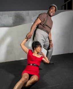 """Karole Foreman is Bess and K.B. Solomon is Crown in Ensemble Theatre Company's """"Porgy and Bess"""" 1/29/17 the New Vic Theatre"""