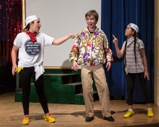 "Mac and 2 Wierd Sisters in Upstarts! Youth Theater's production of Emma Jane Huerta's ""Mabreath"" 3/15/17 Peabody Charter School"