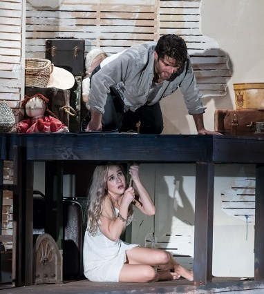 """Asher Grodman & Lily Nicksay in Ensemble Theatre Company's production of Tennessee Williams's """"Baby Doll"""