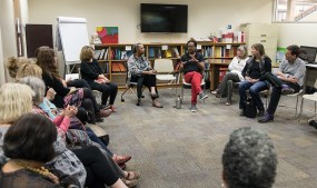 Santa Barbara writers have and intimate session with author Colson Whitehead 4/5/17 SB Public Library
