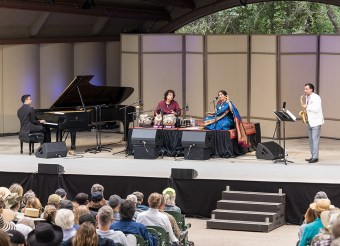 """Confluence"" with Vijay Iyer - piano, Zakir Hussein - tabla, Aruna Sairam - vocalist, Rudresh Mahanthappa - saxophone at the Ojai Music Festival 6/11/17"