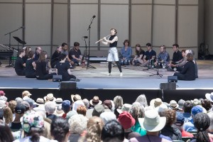 "Award-winning musician Claire Chase and audience members perform excerpts from Marcos Balter's ""Pan"" - The Ojai Music Festival 6/9/17 Libbey Bowl"