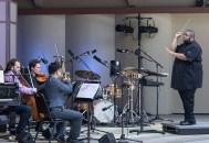 Robin Kodheli, cello, Kyle Ambrust, viola, Charn Hwei Fung, violin and Tyshawn Sorey, conductor - Ojai Music Festival 6/9/17 Libbey Bowl