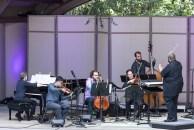 Corey Smythe - piano, Robin Kodheli - cello, Kyle Ambrust - viola, Charn Hwei Fung - violin and Tyshawn Sorey, conductor - Ojai Music Festival 6/9/17 Libbey Bowl
